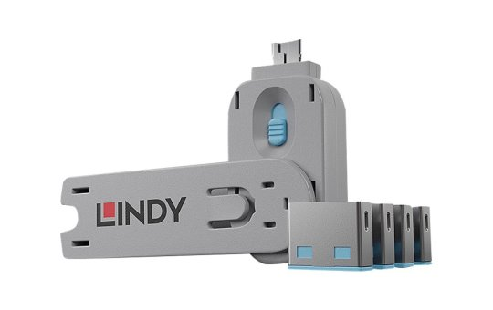 Lindy USB Port Blocker - USB-Portblocker - Blau (Packung mit 4)