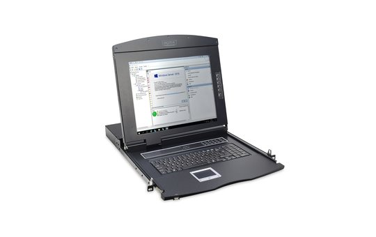 """DIGITUS Modular console with 17"""" TFT (43,2cm), 16-port. Cat.5 KVM & Touchpad, german keyboard"""