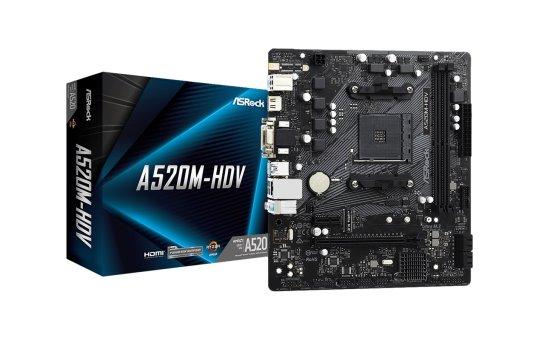 ASRock A520M-HDV - Motherboard - micro ATX - Socket AM4 - AMD A520 Chipsatz - USB 3.2 Gen 1 - Gigabit LAN - Onboard-Grafik (CPU erforderlich)