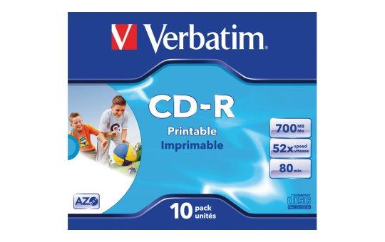 Verbatim 10 x CD-R - 700 MB (80 Min) 52x - mit Tintenstrahldrucker bedruckbare Oberfläche, breite bedruckbare Oberfläche - Jewel Case (Schachtel)